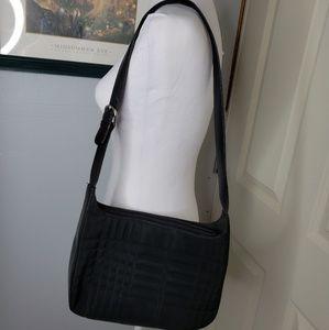 Talbots Nylon Leather Shoulder Handbag Purse Black